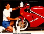 Famous People Ducati 851/888 Superbike, Ayrton Senna cleaning his '91 851...