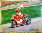 Drawings & Art Ducati Desmosedici, Loris Capirossi celebrating his 2006 Jerez win. Color pencil on paper. 65 x 55 cm. This is my 1st color pencil work.