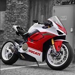 Production (Custom) Ducati Panigale V4, a red motorcycle parked in front of a building a red Ducati Panigale V4 Sportbike parked in front of a building