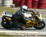 Production (Stock) Honda CBR600F3, Zooming in on the kneedown Assen Trackday Holland 25 May 2005