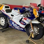 Production (Stock) Honda RC30 VFR750R, a truck that is sitting on a motorcycle