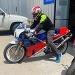 Production (Stock) Honda RC30 VFR750R, a man sitting on a motorcycle