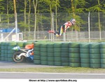 Crash Honda RS250R, I found this picture on MCM and no this is not photoshop this is a stunt man called Lutz Schleiser. Totally dumb if you ask me.