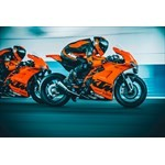 Production (Stock) KTM RC-8C, a person riding on the back of a motorcycle a person riding on the back of a 2022 KTM RC-8C Sportbike