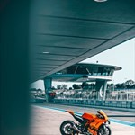 Production (Stock) KTM RC-8C, a bicycle parked on the side of a building