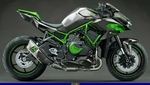 Production (Stock) Kawasaki H2/H2SE/H2SX/H2R Models, a green motorcycle parked on the side of a road a green Kawasaki H2/H2SE/H2SX/H2R Models Sportbike parked on the side of a road