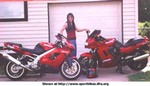 Production (Stock) Kawasaki Multiple (Kawasaki), To the guys who e-mailed me over my 'tags' picture ..... here's me & both my 'babies'.  ZX-9R on left, GPZ1100 on right  (after being rebuilt - totaled her in 2000).   ps: yes, I really ride, 34k mi. on ZX-9R, 36k mi. on GPZ1100 LMAO ;)  -T. in Tulsa