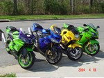 Production (Stock) Kawasaki Multiple (Kawasaki), My 2000 ZX9R, 2002 ex250, 2003 ZX12R, and 2004 ZX10R