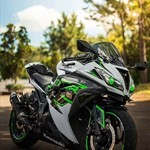 Production (Stock) Kawasaki Ninja ZX-10R, a green motorcycle parked on the side of the road a green Kawasaki Ninja ZX-10R Sportbike parked on the side of the road