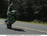 Stunts Kawasaki Ninja ZX-9R, Close-up of me doing a standup wheelie on 'mean green.'