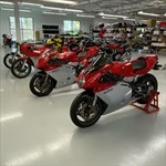 Production (Stock) MV Agusta F4 series, a row of parked motorcycles sitting on a motorcycle on display a row of parked MV Agusta F4 series Sportbikes sitting on a motorcycle on display