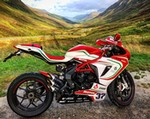 Production (Stock) MV F3, a red motorcycle parked on the side of a mountain a red 2019 MV F3 Sportbike parked on the side of a mountain