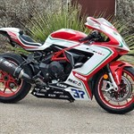 Production (Stock) MV F3, a motorcycle parked on the side of a road a MV F3 Sportbike parked on the side of a road