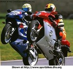 Stunts Multiple Multiple (Multiple), Very cool picture of an MV Agusta wheelying next to a Suzuki GSXR.