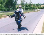 Stunts Suzuki GSX-R1000, nice windscreen wheelie