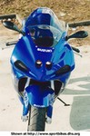 Production (Stock) Suzuki GSX-R750, 2001 Suzuki GSX R750 24456.jpg a blue and white 2001 Suzuki GSX-R750 Sportbike