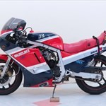Production (Stock) Suzuki GSX-R750, a motorcycle is parked in the snow