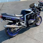 Production (Stock) Suzuki GSX-R750, a motorcycle parked on the beach