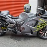 Production (Stock) Suzuki Hayabusa, a motorcycle parked on the side of a building