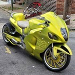 Production (Stock) Suzuki Hayabusa, a motorcycle parked on the side of a road