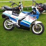 Production (Stock) Suzuki RG Models, a motorcycle parked in a grassy field a Suzuki RG Models Sportbike parked in a grassy field
