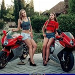 Women MV F3, a couple of people that are sitting on a MV F3 sportbike