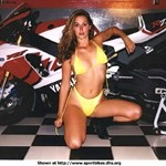 Women Yamaha YZF-R7, A woman in a yellow bikini posing with a 2000 Yamaha YZF-R7 sportbike.