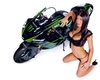 Women Kawasaki ZX-10R, Hot babe with a Kawasaki ZX-10R motorcycle!