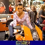 Women KTM 1190 RC8, Hot babe with a cool motorcycle! Jennifer Dark et al. standing around a KTM 1190 RC8 sportbike