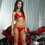Women Ducati 848, Hot babe with a Ducati 848 motorcycle! a woman in red lingerie standing in front of a Ducati 848 sportbike