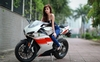 Women Ducati 848, Hot babe with a Ducati 848 motorcycle!