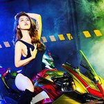 Women Ducati Panigale V4, a woman sitting on a motorcycle a woman sitting on a Ducati Panigale V4 Sportbike