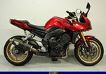 Production (Stock) Yamaha FZ1, a red and black 2008 Yamaha FZ1 sportbike parked on the side of a road