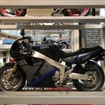Production (Stock) Yamaha FZR1000, a motorcycle on display in a store a Yamaha FZR1000 Sportbike on display in a store