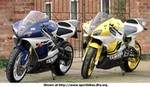 Production (Custom) Yamaha YZF-R1, Here is a front veiw of the R71 and if you look at the frame and swingarm you can see it looks the same as the new R1 pic.The yellow bike is a checa preped R1. Mombo