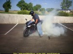 Stunts Yamaha YZF-R1, Joe showing the boys in Ft. Collins Co. how to do it!