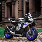 Production (Stock) Yamaha YZF-R1, a motorcycle parked on the side of a building
