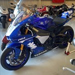 Production (Stock) Yamaha YZF-R1, a group of blue and white motorcycle