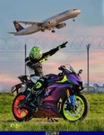 Production (Custom) Yamaha YZF-R6, a motorcycle parked on top of a grass covered field a Yamaha YZF-R6 Sportbike parked on top of a grass covered field