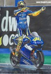 Drawings & Art Yamaha YZR-M1 MotoGP, Vale Rossi celebrating the very difficult donington win in the 2005 season. Please visit www.siegarts.net to order a drawing of your bike!